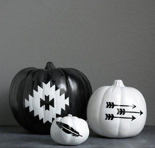 Black and white painted boho tribal pumpkins. Boho Halloween decorations. Boho Halloween Pumpkins. No carve pumpkin ideas. Pumpkin painting ideas. Pumpkin decorating ideas pinterest. creative pumpkin decorating ideas. pumpkin decorations for fall. pumpkin decorating contest ideas halloween pumpkin decorating ideas. mini pumpkin decorating ideas. boho halloween decor.