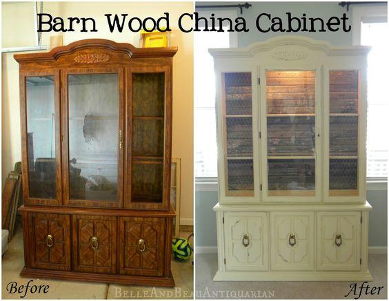 Barn Wood China Cabinet: Before u0026 After #barn_wood #painted_china_cabinet