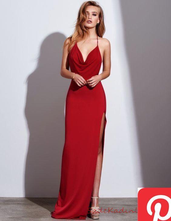 2020 Abiye Ve Gece Elbiseleri Sik Abiye Modelleri Kirmizi Uzun Ip Askil Halter Yaka Derin Yirtmacli The Dress Mezunlar Gecesi Elbiseleri Balo Elbiseleri