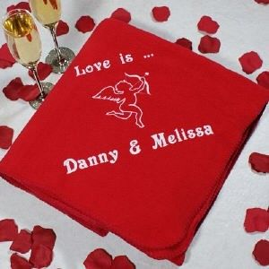 Personalized Embroidered Cupid Fleece Throw Blanket - iMallShoppe.com / Treasured Memories, Unltd.