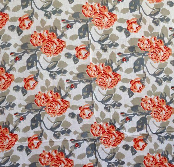 tissu indien coton au m tre dessin grande fleur blanc d co. Black Bedroom Furniture Sets. Home Design Ideas