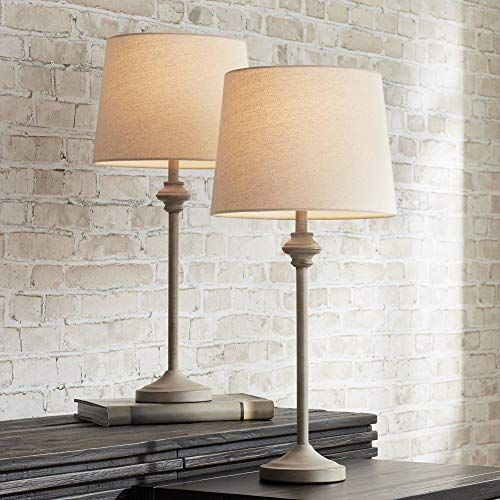 Lynn Country Cottage Buffet Table Lamps Set Of 2 Light Beige Wood Oatmeal Fabric Tapered Drum Shade For Dining Buffet Table Lamps Table Lamp Sets Buffet Lamps