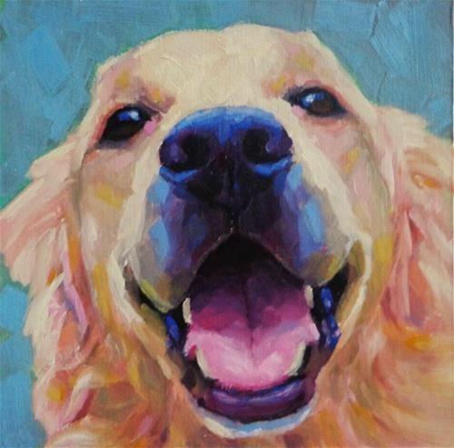 Daily Paintworks Golden Retriever Original Fine Art For
