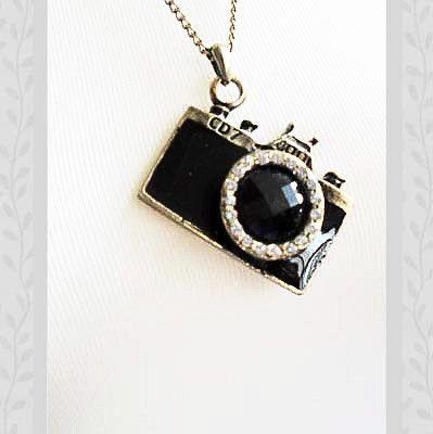 Bejeweled black Toy Camera Necklace
