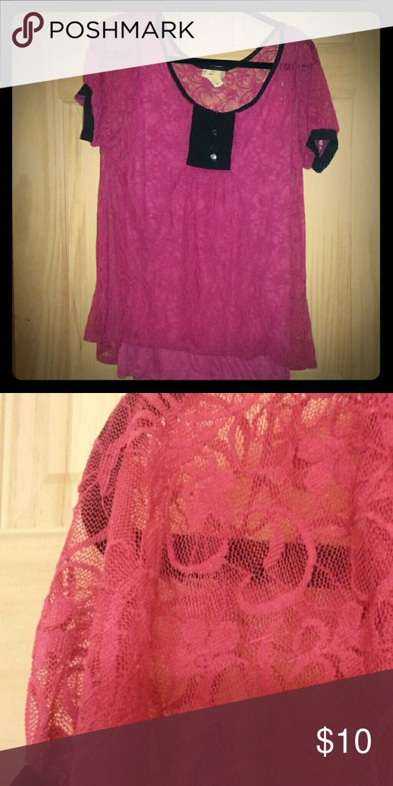 Hot pink lace top with tank size Large This is a beautiful hot pink lace see through top with an attached tank size large. Stretchy and soft. Save and bundle! Tops Blouses