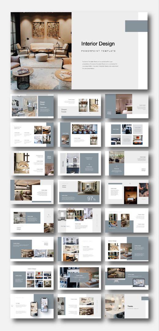 Creative Modern Interior Design Powerpoint Template Original And High Quality Powerpoint Templates In 2020 Interior Design Presentation Architecture Portfolio Design Interior Design Portfolio Layout