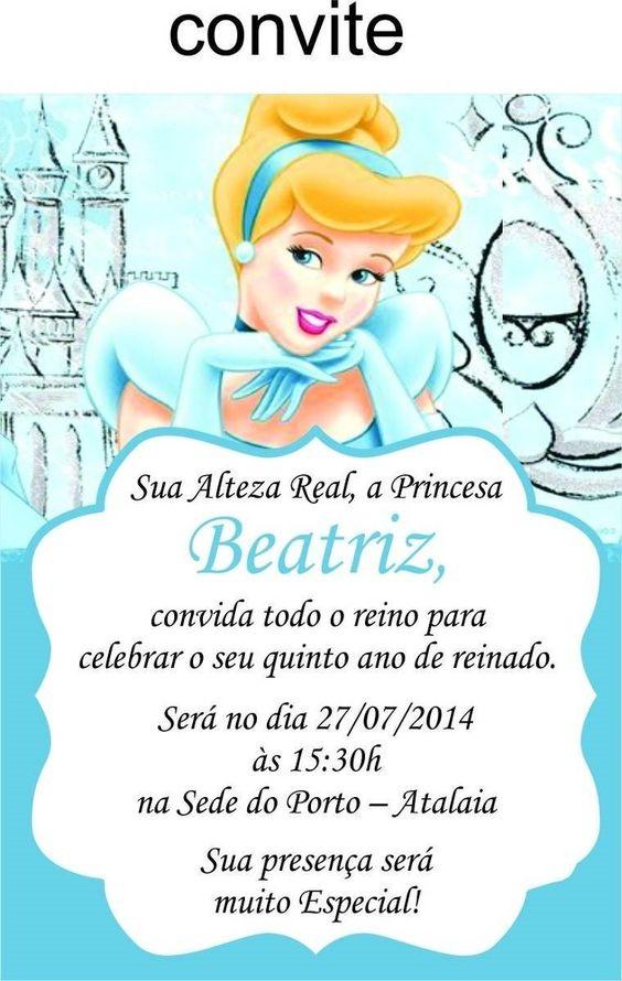 Convite de aniversário da Cinderela continue vendo...
