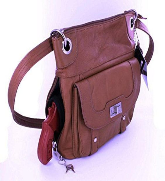 Light Brown Crossbody Leather Locking Concealment Purse - CCW Concealed Carry Ha #RomaLeathers #MessengerCrossBody
