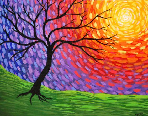 Abstract Tree Art Acrylic 16x20 inch Painting Prismatic Awakening silhouette Sun white red yellow orange purple blue green black via Etsy