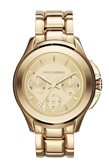 Free shipping and returns on KARL LAGERFELD '7 Klassic' Chronograph Bracelet Watch, 39mm at Nordstrom.com. A glossy profile distinguishes a svelte bracelet watch with a chronograph dial marked by a single Roman numeral in honor of designer Karl Lagerfeld's lucky number seven.