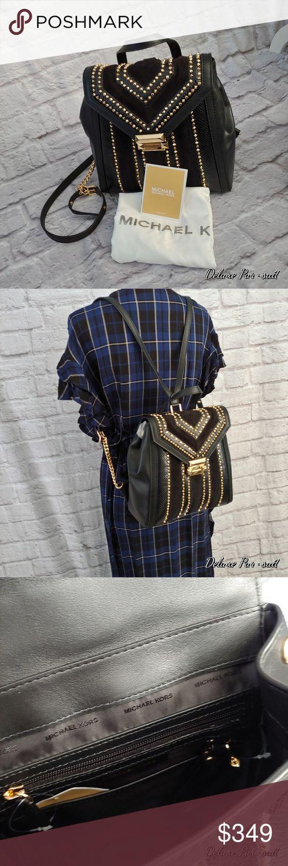 Sold Michael Kors Whitney Mixed Media Backpack New Medium Backpack Beautiful Leather Kor
