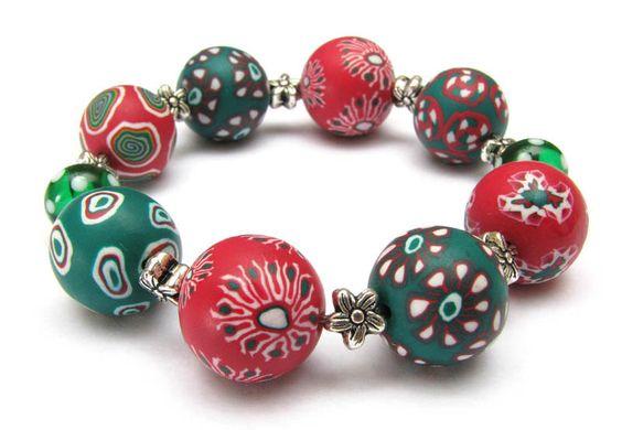 +Waldfee+ bracelet, fimo, polymer clay, beads, millefiori,  Armband Polymer Clay Lampwork Millefi... von filigran-Design   auf DaWanda.com
