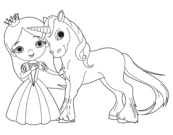 Dibujos Sin Colorear Dibujos De Piolín Para Colorear: Dibujo De Princesa Y Unicornio Para Colorear