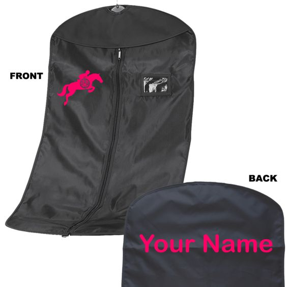 Personalised Suit Garment Bag Carrier Show Equestrian Horse Shoe Design Horse Pony Jodpur Personalized Garment Bag Horse Shoe