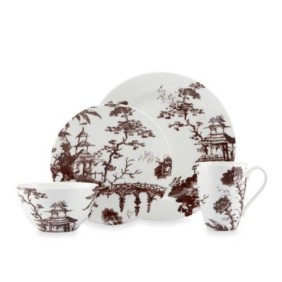 Scalamandre by Lenox® Toile Tale 4-Piece Place Setting in Chocolate - BedBathandBeyond.com