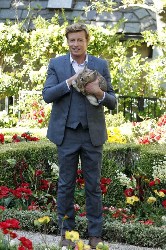 Awww! Patrick Jane (Simon Baker) The Mentalist with a bunny!!