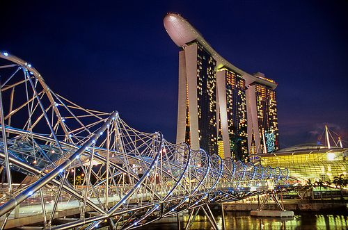 helix bridge   the pedestrian bridge that leads across Marina Bay to the Marina Bay Sands complex