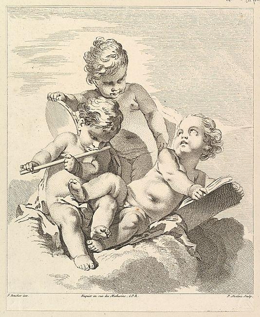 Tours Amours avec des instruments de Musique (Three Loves with Musical Instruments), from Quatrieme Livre de Groupes d'Enfans (Fourth Book of Groups of Children)