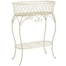 Oval Plant Stand - White
