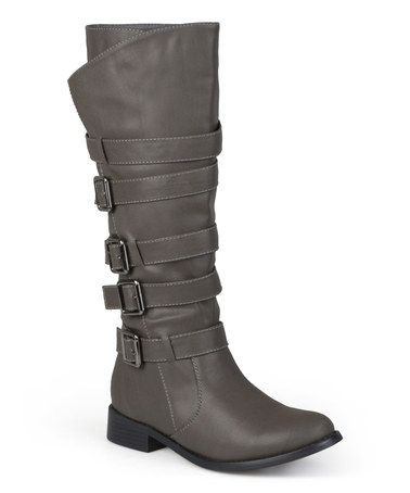 Gray Buckle Ryder Boot ~ I love the multiple strapping buckles that encircle the calf. Very cute, especially with a pair of skinny jeans! ~Zulily find!