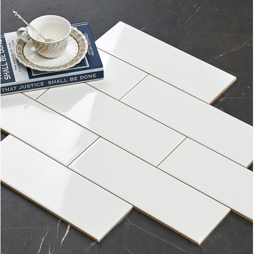 Hudson 12 X 4 Glossy Ceramic Bullnose Tile Trim In White Glossy Ceramic Subway Tile Subway Tile Subway Tile Colors