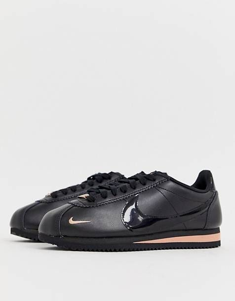 Nike Cortez trainers in black and rose gold in 2020