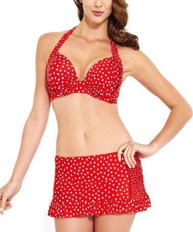 Another great find on #zulily! Red & White Polka Dot Halter Bikini Top by Jantzen #zulilyfinds