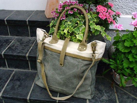 Canvastaschen - XXL Vintage Shopper Canvas Tasche Segeltuch Leder - ein Designerstück von Ariadne-K bei DaWanda