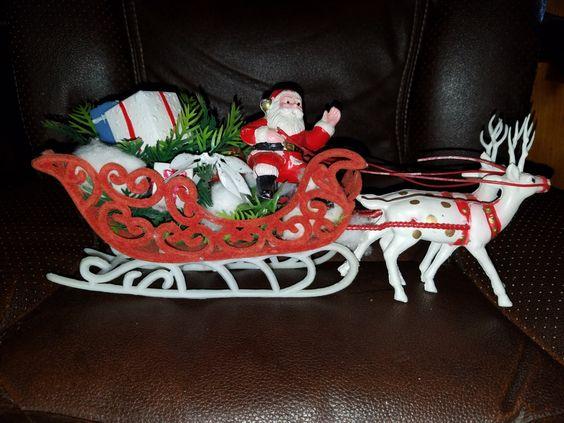 Vintage Plastic Santa on Flocked Sleigh & Plastic Reindeers by VintageBarnYard on Etsy