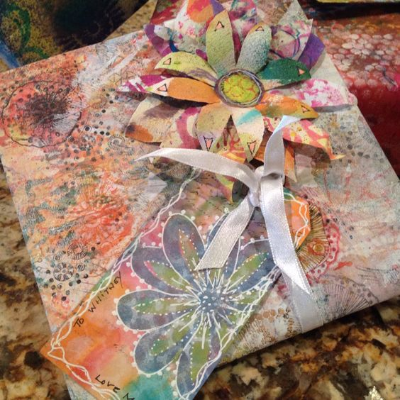 Gift wrap and tag by Claire: paper and flower from mop up papers in inky stash.