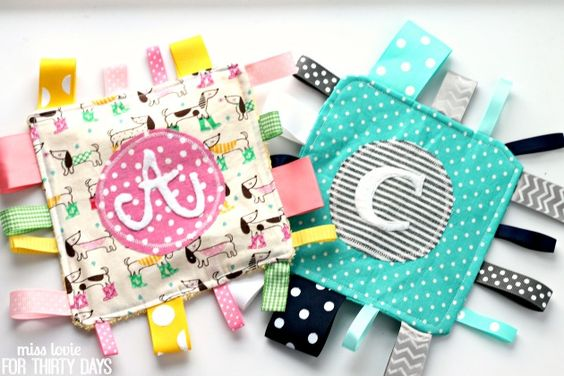 Monogram Crinkle Taggie Baby Toy | Baby toys, Babies and ...
