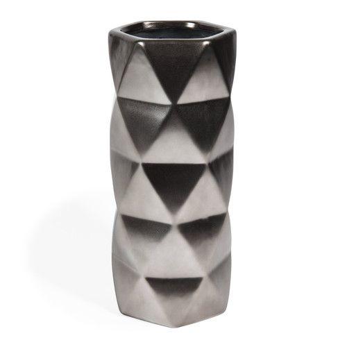 Vase en grès argent mat CAPITONNAGE   Maisons du Monde