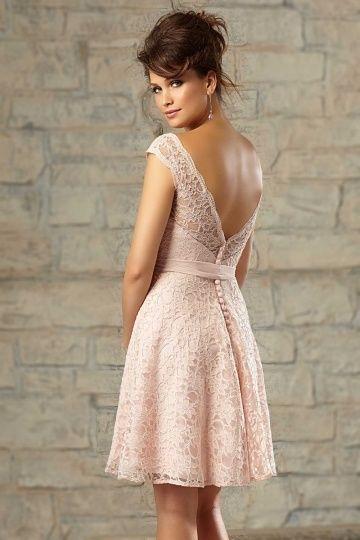 petite robe rose en dentelle pour cocktail de mariage dos dcollet - Robes De Ceremonies Mariage