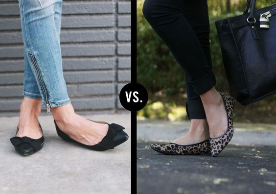 Solid pointed-toe flats vs. Printed pointed-toe flats