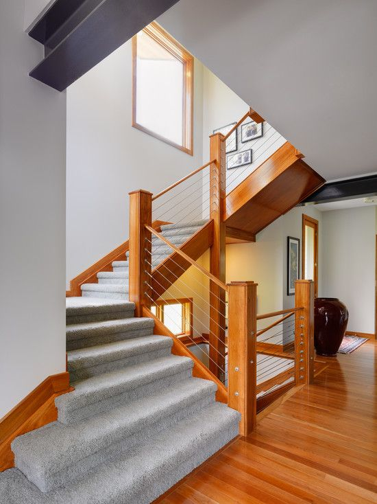 Cable banister and railing ideas to design the staircase for Modern house stairs