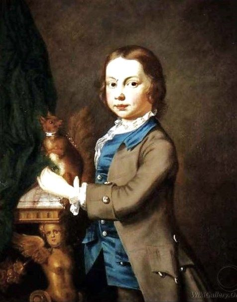 1700s Joseph Highmore (English artist, 1692-1780) A Portrait of a Boy with a Pet Squirrel.: