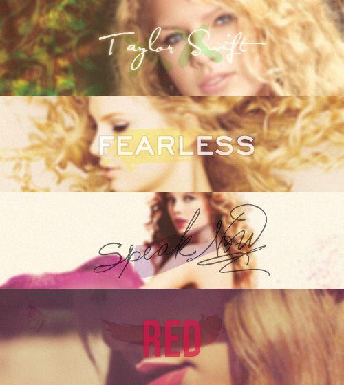 4 eras. Taylor Swift, FEARLESS, Speak Now, RED.