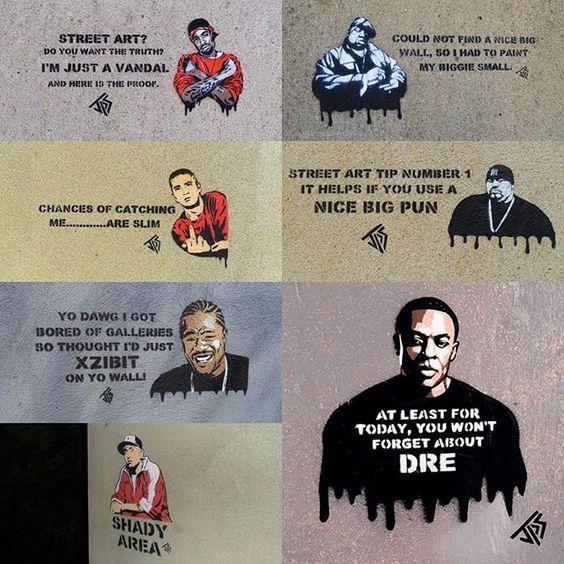 A selection of my Hip Hop street art have a few more to add to this soon #proof #d12 #biggiesmalls #eminim #slimshady #bigpun #xzibit #drdre #streetart #stencil #jps