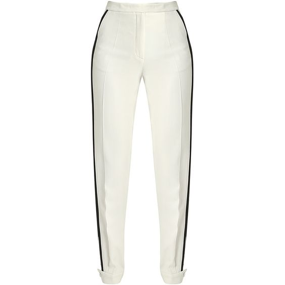 Straight Cut Trousers ($1,180) ❤ liked on Polyvore featuring pants, straight pants, white trousers and white pants