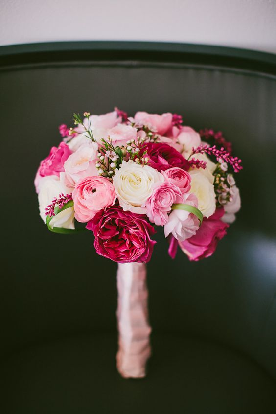 fuschia wedding flowers white roses pink and bouquets on 4434