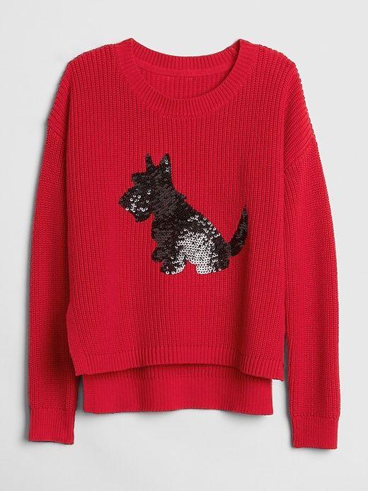 Gap Girls Sequin Dog Pullover Sweater Modern Red | Sweaters, Stitch fix  kids, Kids sweater