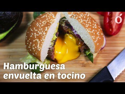Hamburguesa Envuelta en Tocino con Centro Líquido de Queso - YouTube