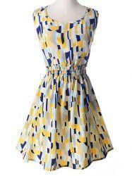 Casual Scoop Collar Sleeveless Elastic Waist Printed Dress For Women