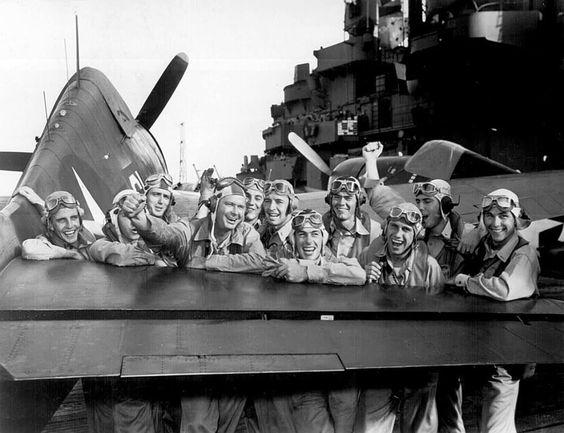 Hellcat pilots, Lexington carrier 1943