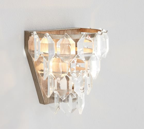 Alma Crystal Sconce Pottery Barn Crystal Sconce Sconces Wood Bead Chandelier