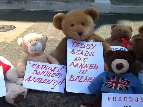 Teddy bears are banned in Belarus so democracy activists fly them in.