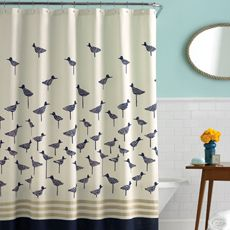kate spade sandpiper shower curtain.  $39.99 at bed bath & beyond (gotta use that blue coupon!)