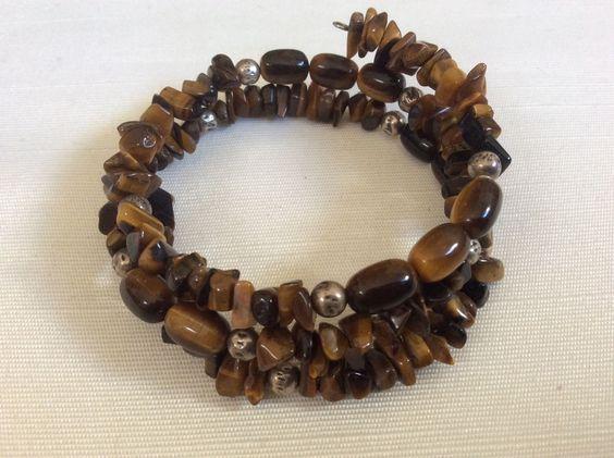 Genuine Tiger Eye Nugget Barrel Beads Memory Wire Bangle Bracelet | eBay