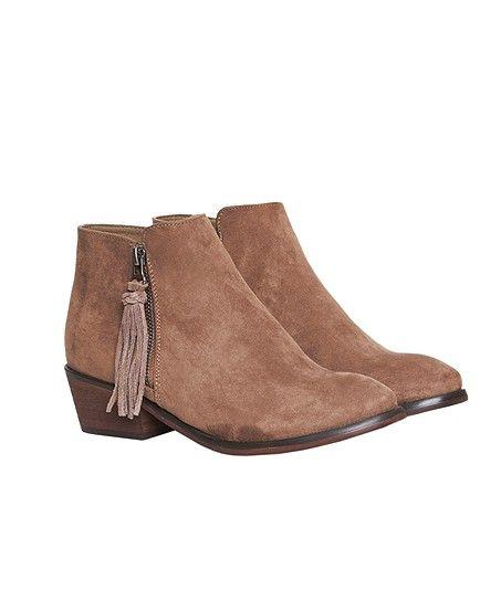 Boots zippées effet daim avec pompon - BART - TAUPE - Etam