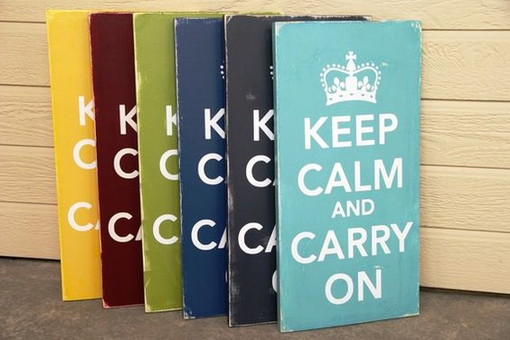 I want the dark blue one for my kitchen. Love this headline from a British WWII poster. The campaign was designed to keep citizens calm, cool, and collected during air raids. Interestingly, the posters were never actually used.